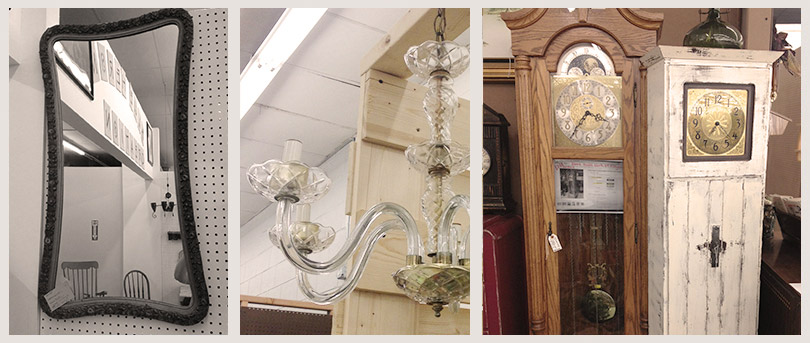 antique clock, antique mirror, antique chandelier